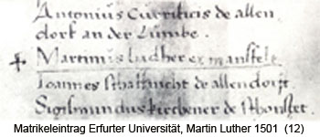 1501 Matrikeleintrag Martin Luther